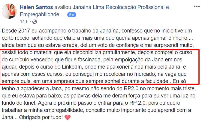 Avaliação Helen Santos CV e Linkedin