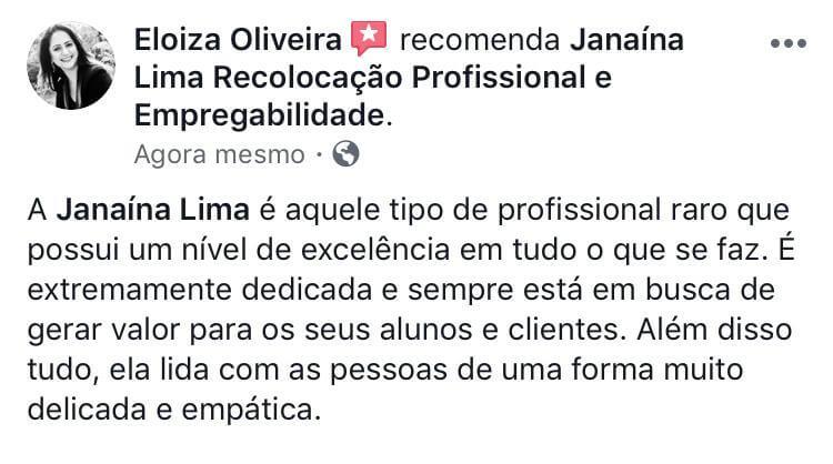 Avaliação Facebook Eloiza Oliveira