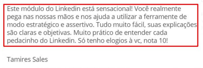Depoimento TOP Tamires - Linkedin